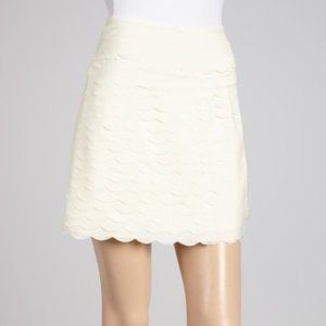 Yumi Kim Cream Layered Scallop Hem Mini Skirt Med